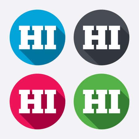 hindi: Hindi language sign icon. HI India translation symbol. Circle buttons with long shadow. 4 icons set. Vector