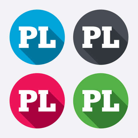 pl: Polish language sign icon. PL translation symbol. Circle buttons with long shadow. 4 icons set. Vector