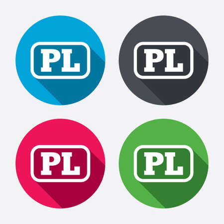 pl: Polish language sign icon. PL translation symbol with frame. Circle buttons with long shadow. 4 icons set. Vector