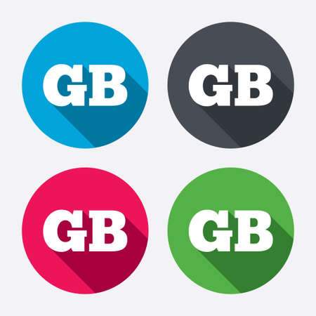 gb: British language sign icon. GB Great Britain translation symbol. Circle buttons with long shadow. 4 icons set. Vector