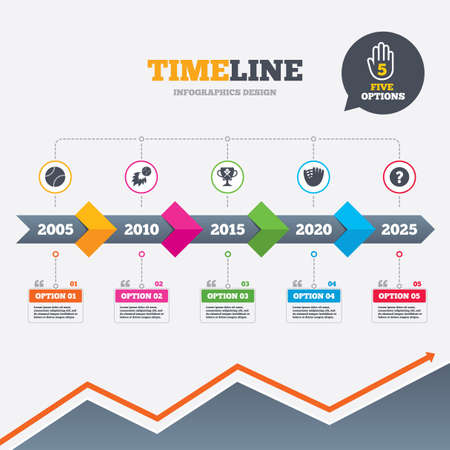 Timeline infographic with arrows. Baseball sport icons. Ball with glove and two crosswise bats signs. Fireball with award cup symbol. Five options with hand. Growth chart. Vector Vector