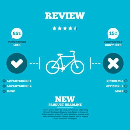 Review with five stars rating. Bicycle sign icon. Eco delivery. Family vehicle symbol. Customers like or not. Infographic elements. Vector