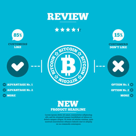 p2p: Review with five stars rating. Bitcoin sign icon. Cryptography currency symbol. P2P. Customers like or not. Infographic elements. Vector Illustration