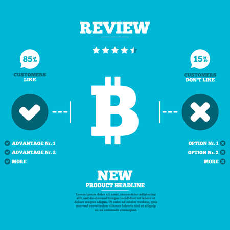 peer: Review with five stars rating. Bitcoin sign icon. Cryptography currency symbol. P2P. Customers like or not. Infographic elements. Vector Illustration