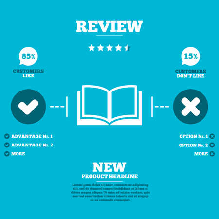 not open: Review with five stars rating. Book sign icon. Open book symbol. Customers like or not. Infographic elements. Vector Illustration
