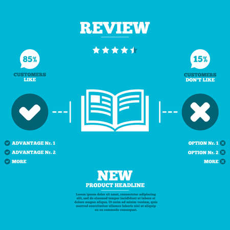 Review with five stars rating. Book sign icon. Open book symbol. Customers like or not. Infographic elements. Vector Vector