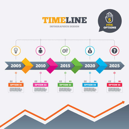 Timeline infographic with arrows. Business icons. Human silhouette and lamp bulb idea signs. Dollar money bag and gear symbols. Five options with hand. Growth chart. Vector