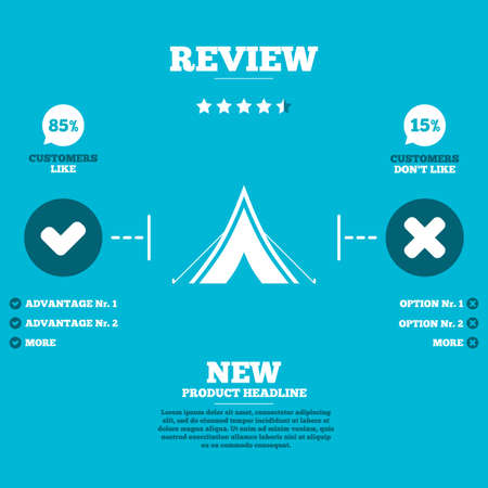 Review with five stars rating. Tourist tent sign icon. Camping symbol. Customers like or not. Infographic elements. Vector Vector
