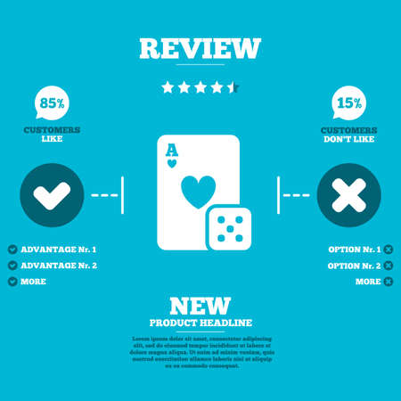 review icon: Review with five stars rating. Casino sign icon. Playing card with dice symbol. Customers like or not. Infographic elements. Vector