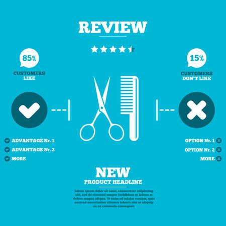 comb hair: Commenta con cinque stelle rating. Pettine capelli con le forbici segno icona. Simbolo Barber. Clienti come o meno. Elementi infographic. Vettore
