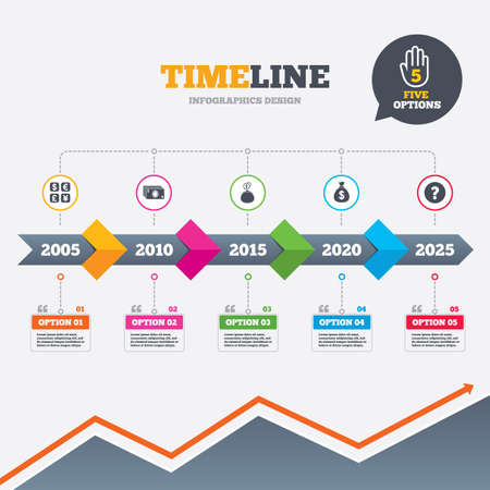 Timeline infographic with arrows. Currency exchange icon. Cash money bag and wallet with coins signs. Dollar, euro, pound, yen symbols. Five options with hand. Growth chart. Vector