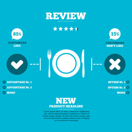 etiquette: Review with five stars rating. Plate dish with fork and knife. Eat sign icon. Cutlery etiquette rules symbol. Customers like or not. Infographic elements. Vector