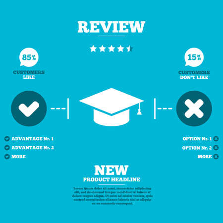 higher education: Review with five stars rating. Graduation cap sign icon. Higher education symbol. Customers like or not. Infographic elements. Vector Illustration