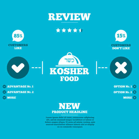 jewish food: Review with five stars rating. Kosher food product sign icon. Natural Jewish food with platter serving symbol. Customers like or not. Infographic elements. Vector