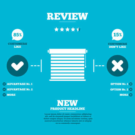 blinds: Review with five stars rating. Louvers sign icon. Window blinds or jalousie symbol. Customers like or not. Infographic elements. Vector Illustration