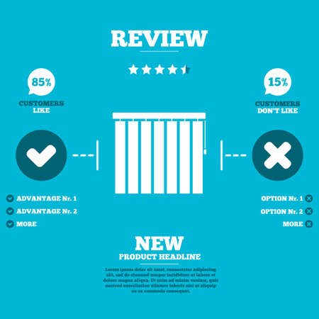 window seal: Review with five stars rating. Louvers vertical sign icon. Window blinds or jalousie symbol. Customers like or not. Infographic elements. Vector Illustration