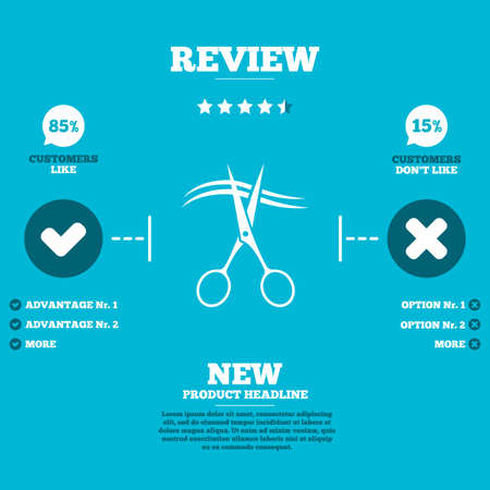 cut hair: Review with five stars rating. Scissors cut hair sign icon. Hairdresser or barbershop symbol. Customers like or not. Infographic elements. Vector Illustration