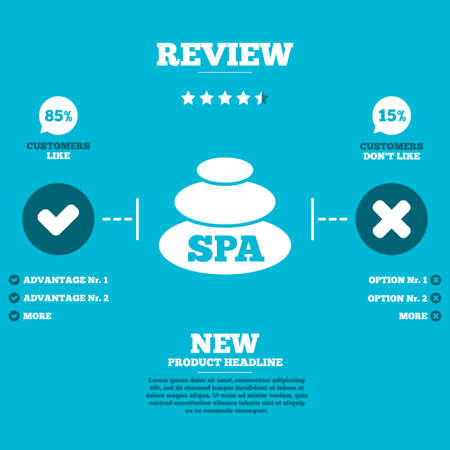 review icon: Review with five stars rating. Spa sign icon. Spa stones symbol. Customers like or not. Infographic elements. Vector Illustration