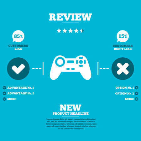 quality controller: Review with five stars rating. Joystick sign icon. Video game symbol. Customers like or not. Infographic elements. Vector