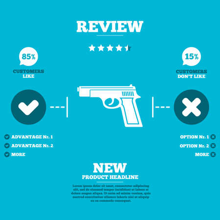 firearms: Review with five stars rating. Gun sign icon. Firearms weapon symbol. Customers like or not. Infographic elements. Vector