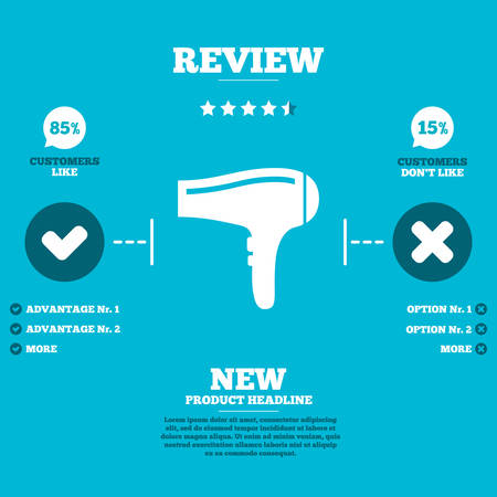 blow drying: Review with five stars rating. Hairdryer sign icon. Hair drying symbol. Customers like or not. Infographic elements. Vector