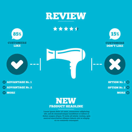 review icon: Review with five stars rating. Hairdryer sign icon. Hair drying symbol. Customers like or not. Infographic elements. Vector
