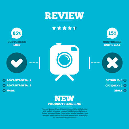 review icon: Review with five stars rating. Hipster photo camera sign icon. Retro camera on tripod symbol. Customers like or not. Infographic elements. Vector Illustration