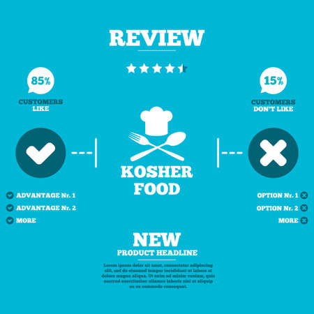 review icon: Review with five stars rating. Kosher food product sign icon. Natural Jewish food with chef hat spoon and fork symbol. Customers like or not. Infographic elements. Vector