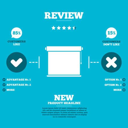 roll curtains: Review with five stars rating. Louvers rolls sign icon. Window blinds or jalousie symbol. Customers like or not. Infographic elements. Vector Illustration