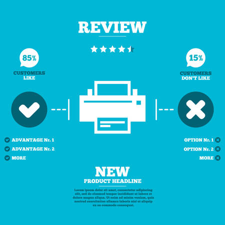 review icon: Review with five stars rating. Print sign icon. Printing symbol. Print button. Customers like or not. Infographic elements. Vector