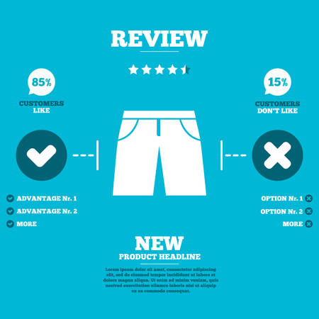 beachwear: Review with five stars rating. Mens Bermuda shorts sign icon. Clothing symbol. Customers like or not. Infographic elements. Vector