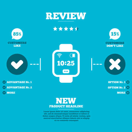 Review with five stars rating. Smart watch sign icon. Wrist digital watch. Wi-fi and battery energy symbol. Customers like or not. Infographic elements. Vector Vector