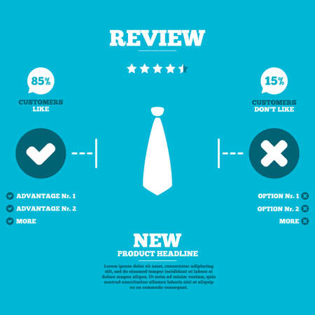 official wear: Review with five stars rating. Tie sign icon. Business clothes symbol. Customers like or not. Infographic elements. Vector