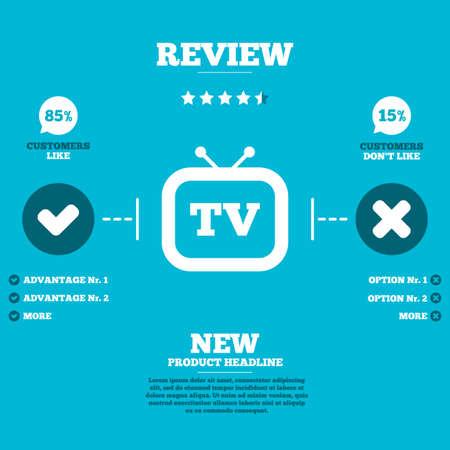 set de television: Repase con cinco estrellas de calificaci�n. Retro TV icono de la muestra. Televisi�n s�mbolo. Clientes como o no. Elementos de Infograf�a. Vector Vectores