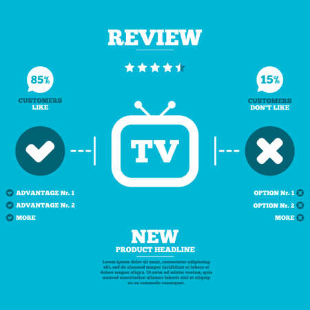 advantages: Review with five stars rating. Retro TV sign icon. Television set symbol. Customers like or not. Infographic elements. Vector
