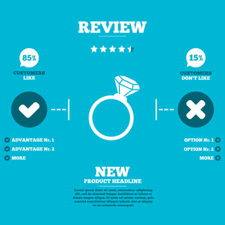 review icon: Review with five stars rating. Ring sign icon. Jewelry with diamond symbol. Wedding or engagement day symbol. Customers like or not. Infographic elements. Vector Illustration