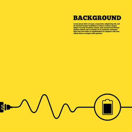 Electric plug background. Battery level sign icon. Electricity symbol. Yellow poster with black sign and cord. Vector