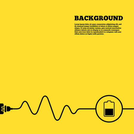 Electric plug background. Battery half level sign icon. Low electricity symbol. Yellow poster with black sign and cord. Vector Illustration