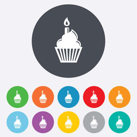 Birthday cake sign icon. Cupcake with burning candle symbol. Round colourful 11 buttons. Vector