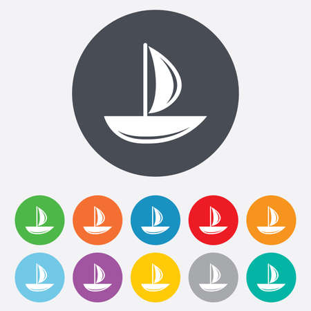 ship sign: Sail boat icon. Ship sign. Shipment delivery symbol. Round colourful 11 buttons. Vector