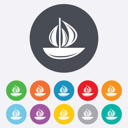 barca a vela: Vela icona barca. Segno della nave. Spedizione simbolo consegna. Rotondi colorati 11 pulsanti. Vettore Vettoriali