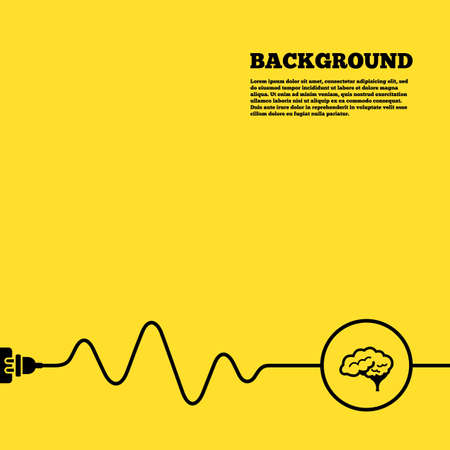 cerebellum: Electric plug background. Brain with cerebellum sign icon. Human intelligent smart mind. Yellow poster with black sign and cord. Vector