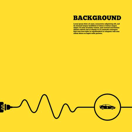 electric vehicle: Sfondo presa elettrica. Auto elettrica icona segno. Sedan simbolo berlina. Trasporto del veicolo elettrico. Manifesto giallo con il segno nero ed il cavo. Vettore