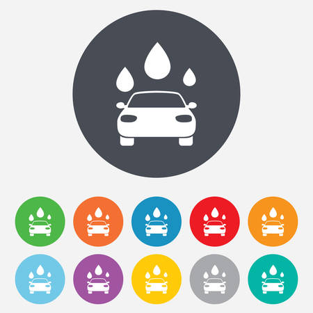 automated: Car wash icon. Automated teller carwash symbol. Water drops signs. Round colourful 11 buttons. Vector