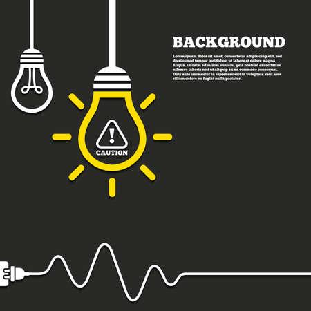 電気プラグの背景を持つアイデア ランプ。注意注意記号アイコン。感嘆符。危険警告記号です。湾曲したコードです。ベクトル