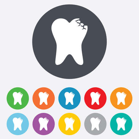 prestige: Tooth crystal icon. Tooth jewellery sign. Dental prestige symbol. Round colourful 11 buttons. Vector