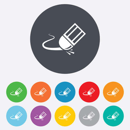 erased: Eraser icon. Erase pencil line symbol. Correct or Edit drawing sign. Round colourful 11 buttons. Vector