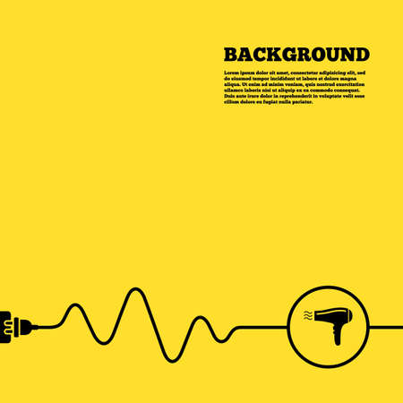 yellow hair: Electric plug background. Hairdryer sign icon. Hair drying symbol. Blowing hot air. Turn on. Yellow poster with black sign and cord. Vector