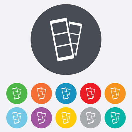 token: Photo booth strips sign icon. Photo frame template symbol. Round colourful 11 buttons. Vector