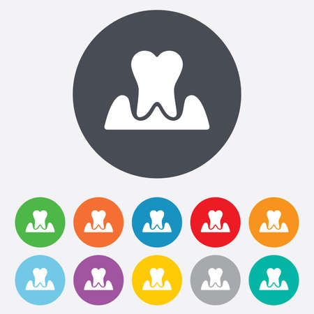 gingivitis: Parodontosis tooth icon. Gingivitis sign. Inflammation of gums symbol. Round colourful 11 buttons. Vector